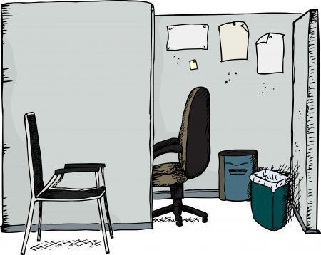 shredder: Isolated office cubicle with chairs, shredder and garbage can