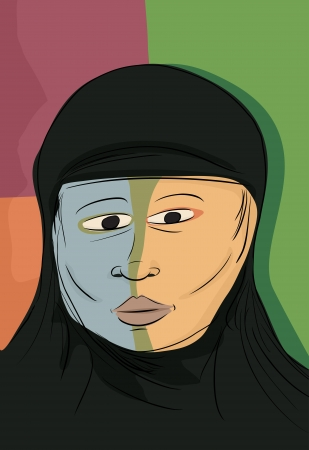 headscarf: Abstract portrait of serious Muslim woman in black hijab Illustration