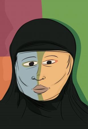 kopftuch: Abstrakte Portr�t von schweren muslimischen Frau in der schwarzen Hijab Illustration