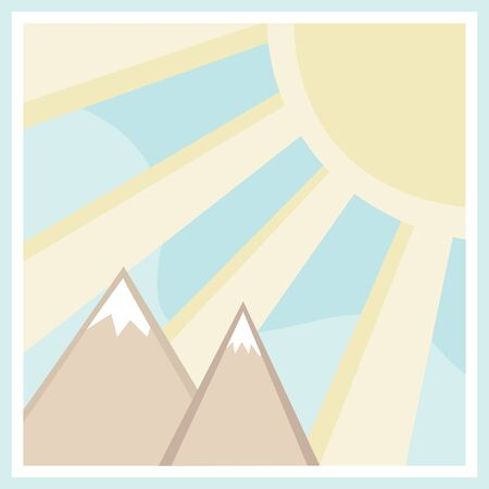 Mountain scene with large sun rays in square Stock Vector - 16983706
