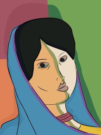 伝統的なスカーフでインドのイスラム教徒の女性の抽象的なポートレート