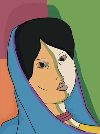 headscarf: Abstract portrait of an Indian Muslim woman in traditional headscarf Illustration