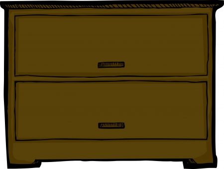 drawers: Dresser with two drawers over isolated background