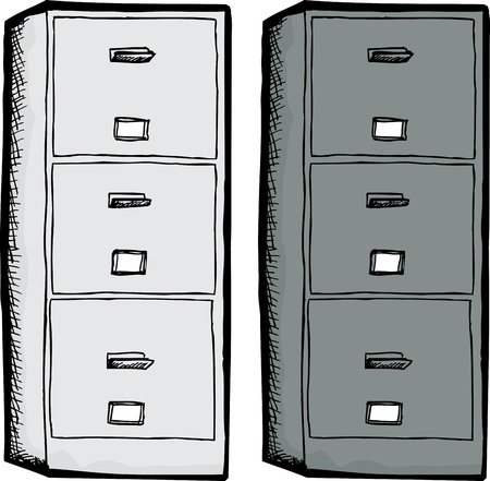 in the black: White and black filing cabinets isolated over white background Illustration