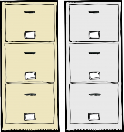Front view of isolated metal filing cabinets