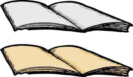 peri�dico: Abra o jornal ou revista em branco sobre o fundo branco Ilustra��o