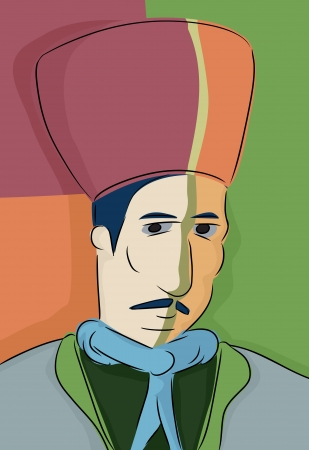 Abstract portret van de 19e eeuw Turkse moslim man met fez Stock Illustratie