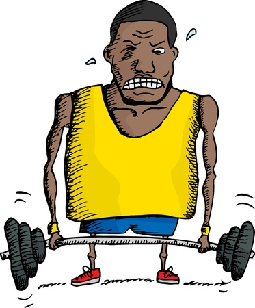 struggling: African man struggling to lift barbell up Illustration