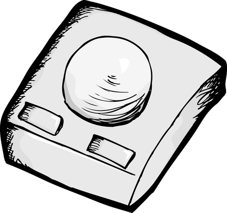 Vintage trackball with buttons computer hardware over white Stock Vector - 17097420