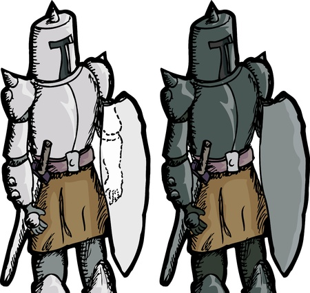 crusades: Fantasy medieval knight with see through shield over white background Illustration