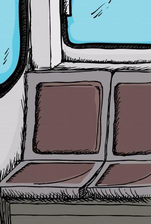 Public transit bus or train empty seats detail illustration  Ilustracja