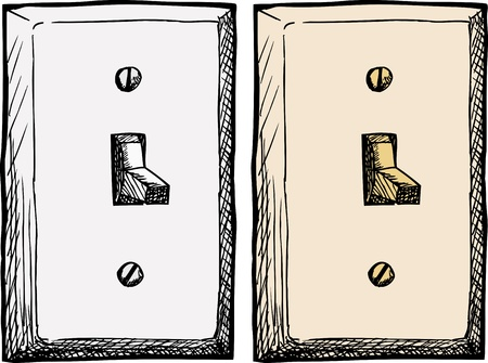 Drawing of a single wall light switch at an angle