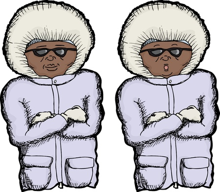 fur hood: Cartoon of person with coat and folded arms Illustration