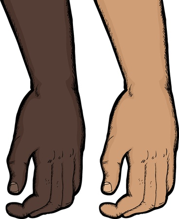 forearms: Close up of relaxed human hand in dark and light skin tones