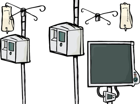 Intravenous drip objects and heart rate monitor over white background