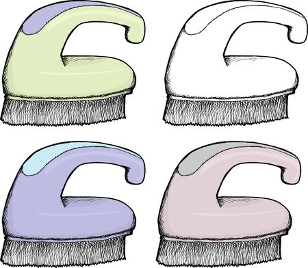 scrub: Isolated hand drawn plastic scrub brush in various colors