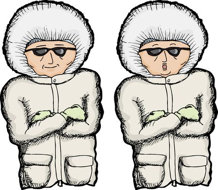 folded arms: Cartoon of person with coat and folded arms Illustration