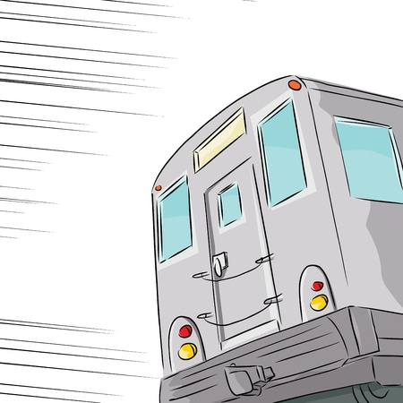 Fast moving public transit subway train over white background