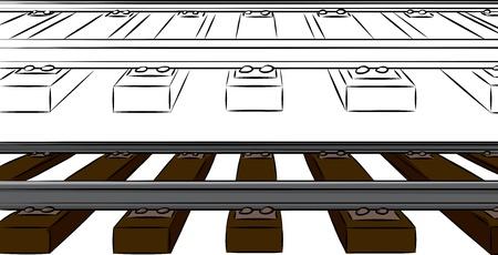 zug cartoon: Railroad Tracks Karikatur in Farbe und Schwarz �ber isolierte Hintergrund