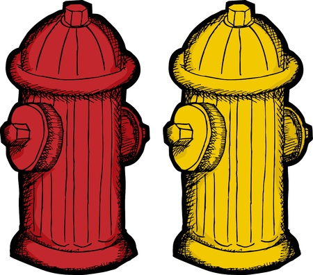 fire plug: Red and yellow fire hydrant illustrations over white background Illustration