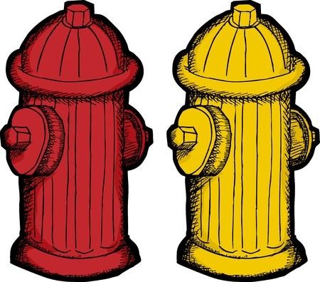 Rood en geel brandkraan illustraties op een witte achtergrond Vector Illustratie
