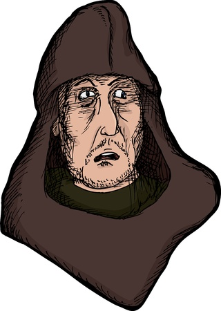 Scared medieval man with hood on isolated background Çizim