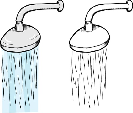 water: Isolated shower head illustration with water droplets