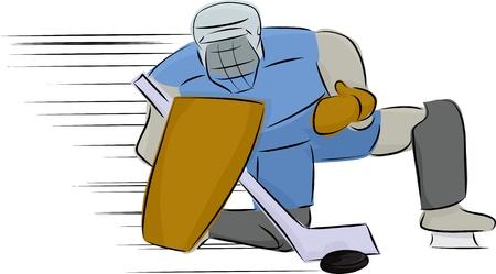 hockey goal: Ice hockey goal tender stops the puck Illustration