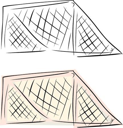 hockey goal: Ice hockey goal net over isolated background Illustration