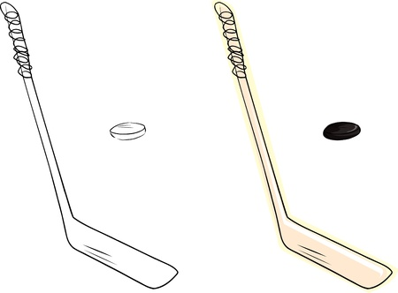 puck: Isolated ice hockey stick and black puck doodle