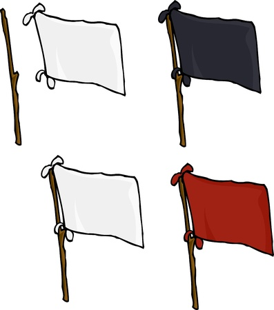 surrender: Blank flags made from sheets on stick over white background Illustration