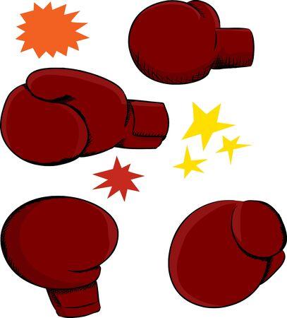 Quatre gants de boxe rouges avec des effets sur fond blanc Banque d'images - 17619348