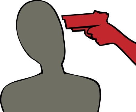 hostage: Silhouette of gun to the head of person