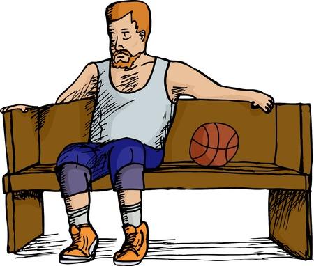 Mature heavyset basketball player sitting on bench over white background Illustration