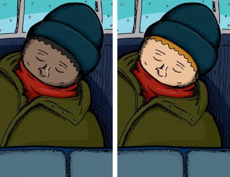 Person asleep on bus in dark and light skinned versions Illusztráció