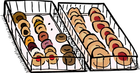 Two trays of donuts and cheese danish pastries Ilustração
