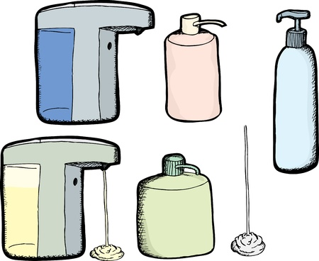 Various soap and lotion dispensers over white background 向量圖像