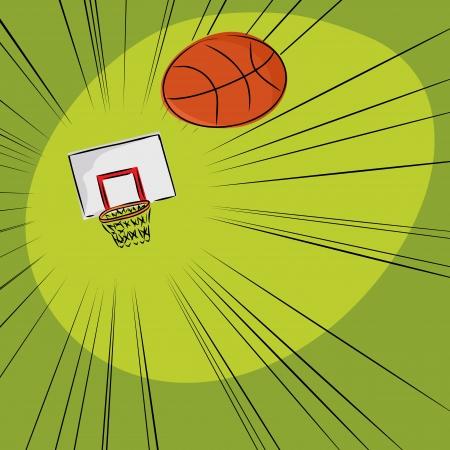 towards: Basketball flying through the air towards a hoop