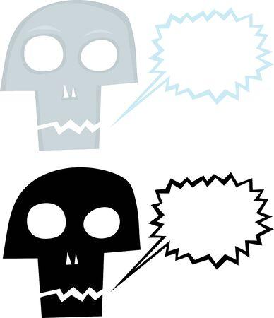 cursing: Cute cartoon of talking skull with word balloon Illustration
