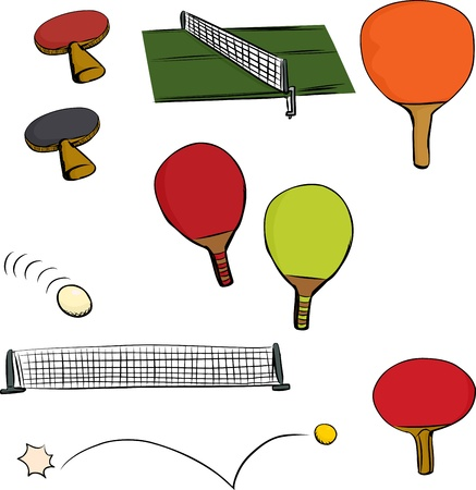 table set: Various table tennis game objects on isolated white background