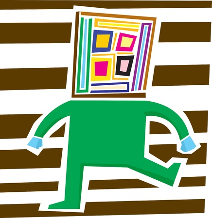 insulted: Abstract person with square head having a temper tantrum Illustration