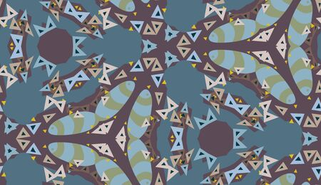 Seamless kaleidoscope triangle pattern in blue and purple Vector