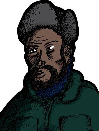 Bearded Black man in winter coat and fur hat  イラスト・ベクター素材