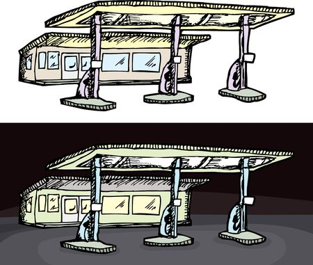 out of gas: Gas filling station in isolated and night versions Illustration