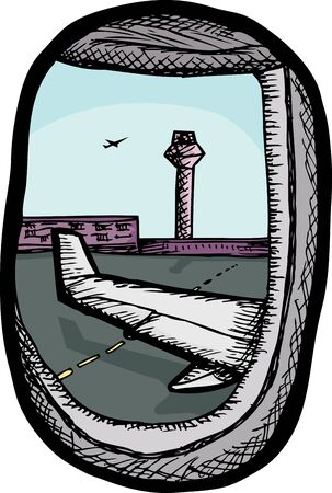 window view: View of airport from airplane window illustration