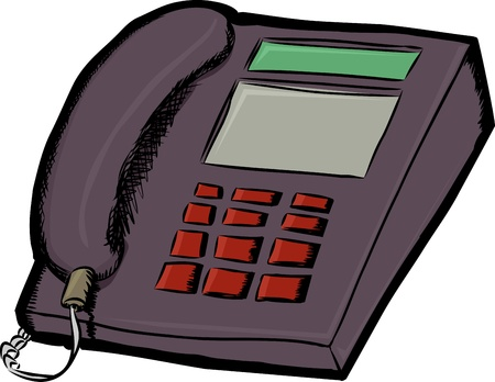 touchtone: Isolated land line telephone cartoon over white background