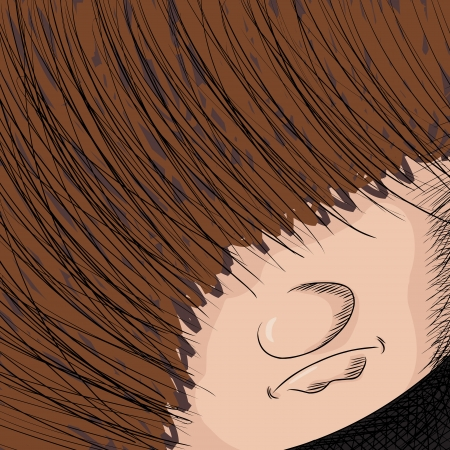 man long hair: Close up cartoon of person with hair covering his eyes Illustration