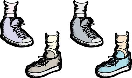 Set de chaussures de sport et de haut-dessus chaussures de sport sur fond blanc Banque d'images - 18430288