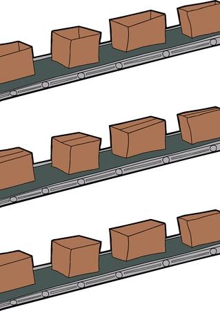 cinta transportadora: Caricatura de cajas de cartón en las correas transportadoras
