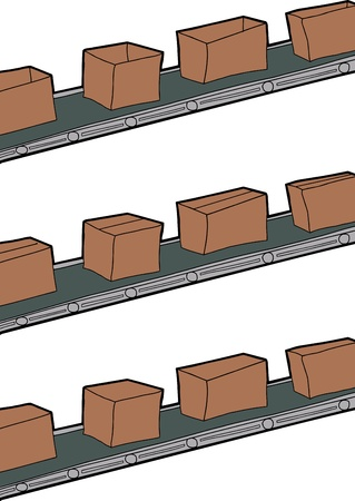 assembly line: Cartoon of cardboard boxes on conveyer belts Illustration